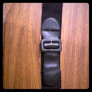 Ribbed Stretch Black Waist Belt